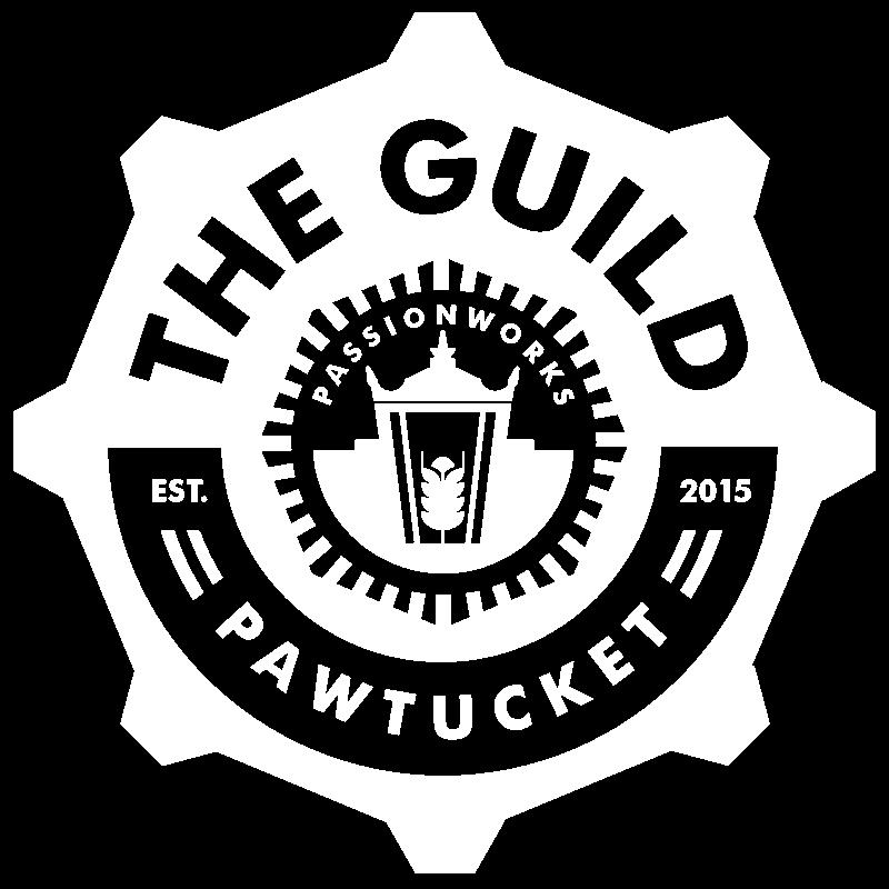 The Guild Pawtucket Est. 2015. Gear-shaped logo.